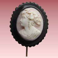 Victorian Whitby Jet Hand Carved Large Pink Shell Cameo Mourning Lapel Stick Pin