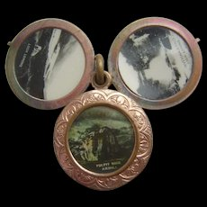 Victorian Rolled Gold Scottish 5 Picture Locket Pulpit Rock Ardlui Loch Lomond