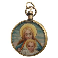 Victorian Religious Print Stipple Engraving in Rolled Gold Photo Locket Pendant