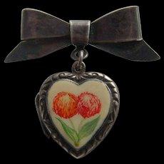 Fine Sterling Silver & Enamel Roses 1940's Retro Sweetheart Photo Locket Brooch