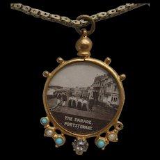 Victorian Rolled Gold Irish Souvenir Picture Locket Portstewart Co Derry & Chain