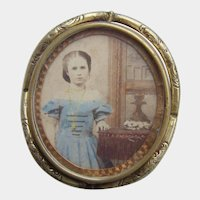 Rare Victorian Pinchbeck Gilt Swivel Locket Brooch Tinted Photo Girl by Dresser