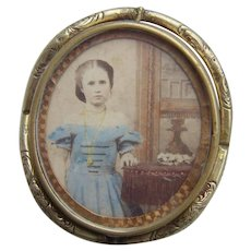 Rare Victorian Pinchbeck Gilt Swivel Locket Brooch Tinted Photo Girl by Dresser