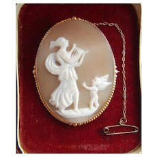 Victorian 9ct Gold Mounted Psyche & Eros Hand Carved Shell Cameo Brooch