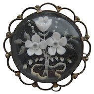 Vintage 800 Silver Forget Me Not Reverse Carved Lucite 1930's Brooch Signed KB