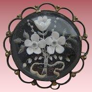 Vintage 800 Silver Forget Me Not Reverse Carved Lucite 1930's Brooch Signed KB