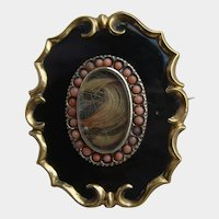 Rare Victorian Black Enamel Mourning Brooch with Coral Hair Locket