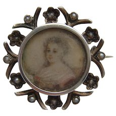 Antique Victorian Hand Painted Portrait Miniature in Silver Forget Me Not Brooch
