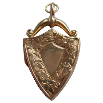 Antique Edwardian 9ct Gold Shield Shaped Locket Birmingham 1908