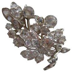 Antique Georgian Silver Mounted Sparkling Multi Rock Crystal Set Brooch