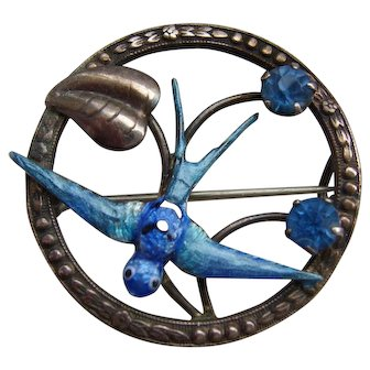 Finest Victorian Sterling Silver Blue Enamel Bird Swallow in Flight Brooch c1890