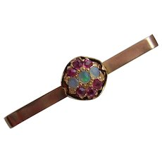 Exquisite 1930's Art Deco 9ct Rose Gold Multi Ruby & Fiery Opal Bar Brooch