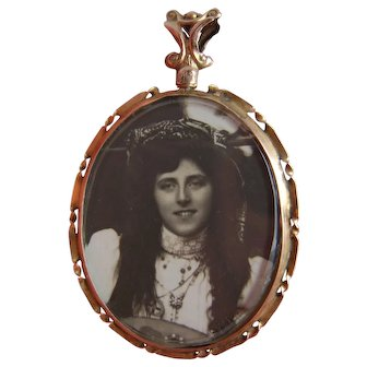 Stunning Antique Victorian c1900 9ct Gold Double Photo Locket Pendant