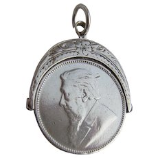 Victorian Silver Mounted Fob South Africa 1896 Two Shilling Coin Paul Kruger