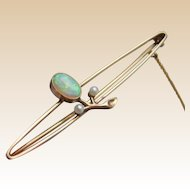 Antique ART NOUVEAU Fine Opal & Seed Pearl Openwork Bar Brooch with Safety Chain