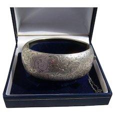 Fine Victorian Chased Snail & Leaf Sterling Silver Bangle Cuff Bracelet 39.31gms