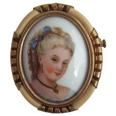 Unusual Vintage 1940's FRENCH Porcelain Lady Portrait LIMOGES Brooch