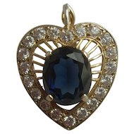 Vintage Silver Gilt Heart Shaped Sapphire Paste & Multi Rhinestone Surround