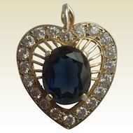 Vintage Silver Gilt Heart Shaped Sapphire Paste & Multi Rhinestone Surround