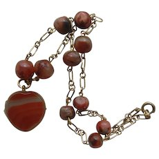 Rare Victorian Carnelian Agate Heart Locket on Collar Bead Chain c1900