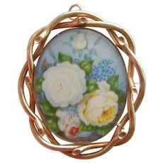 Victorian Pinchbeck Locket Brooch with Hand Painted Floral Miniature