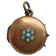 Victorian Rolled Gold Filled Locket c1900 with Faux Turquoise & Seed Pearl