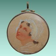 Edwardian Hand Painted Watercolor Miniature Portrait of Lady in Bonnet