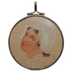 Edwardian Hand Painted Watercolor Miniature Portrait of Lady in Bonnet