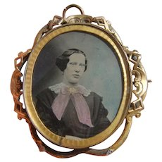 Victorian Ambrotype Photo Portrait Locket Brooch with Lady in Period Dress