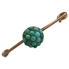 Stunning 9ct Gold Chester HM 1920 Turquoise Cluster Brooch