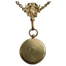 Victorian Angel Mourning Chatelaine with Ambrotype Fob Locket