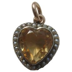 Victorian 9ct Gold Citrine & Seed Pearl Heart Pendant