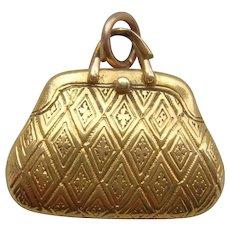 Rare Vintage 18K Solid Gold Handbag Sweetheart Locket Pendant Charm