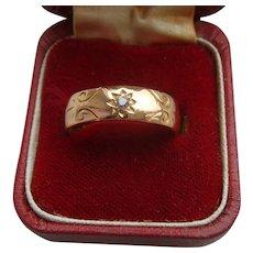 Boxed 1892 Victorian 22K Carat Gold & Diamond Wedding Dress Ring