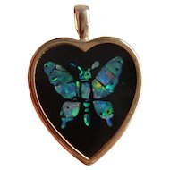 Vintage 9K Carat Gold Inlaid Opal Butterfly in Onyx Pendant