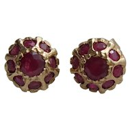 Vintage 9K Carat Gold Multi Ruby Stud Earrings