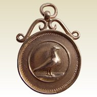 Heavy Solid 9K Carat Rose Gold Pigeon Racing Medal Fob 1924 Winner 15.35gm