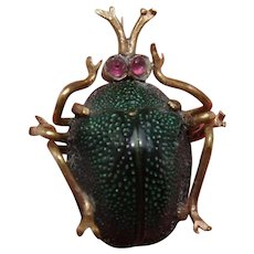 Victorian Egyptian Revival Scarab Beetle Brooch with Pink Gem Set Eyes