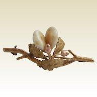 Vintage 14K Carat Gold Oak Leaf & Acorns Double Elk Tooth Brooch