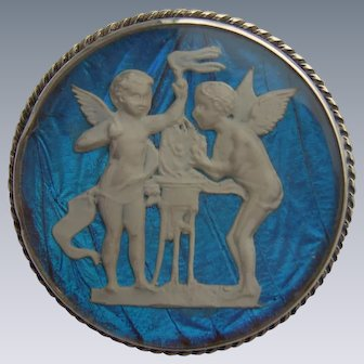 Art Deco Sterling Silver Two Cherubs Sulphide Cameo Butterfly Wing Brooch