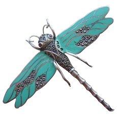 Large Art Deco Sterling Silver Enamel & Marcasite Dragonfly Brooch