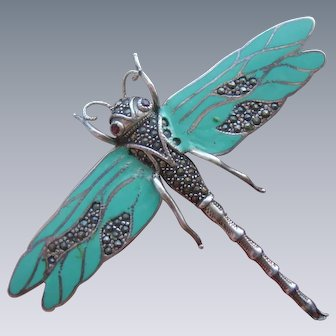 Large Art Deco Sterling Silver Enamel & Marcasite Dragonfly Brooch