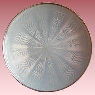 Norwegian Sterling Silver Guilloche Enamel Miniature Pin Dish Signed Early David Andersen