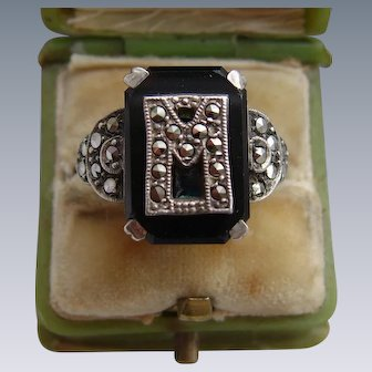 Art Deco Silver Onyx and Marcasite Tablet Ring with Initial 'M'