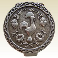 Vintage Sterling Silver Repousse Rooster Pill Box with Gilded Interior
