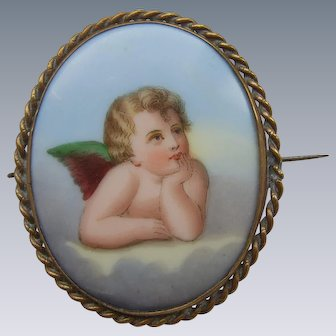 Victorian Hand Painted Transfer Porcelain Portrait Cherub Brooch