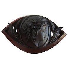 Large Victorian Whitby Jet Hand Carved Navette Shaped Cameo Brooch
