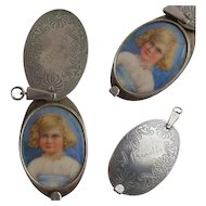 Vintage 1920's Hand Painted Watercolor Miniature PORTRAIT of Prunella French LOCKET