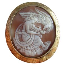 Huge Victorian Pinchbeck Hebe Feeding Eagle of Zeus Shell Cameo Brooch c1860