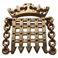 Rare Ola Gorie 9K Carat Gold London House of Commons Portcullis Brooch